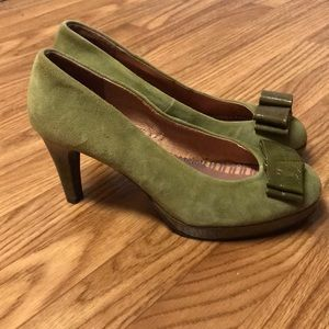 Anthro Miss Albright Olive Green Suede Heels